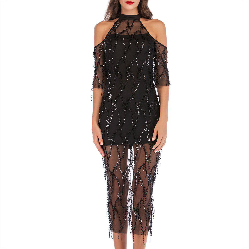 Outfits Elegant and Stylish Sexy Openwork Strapless Sequined Sleeve Dress