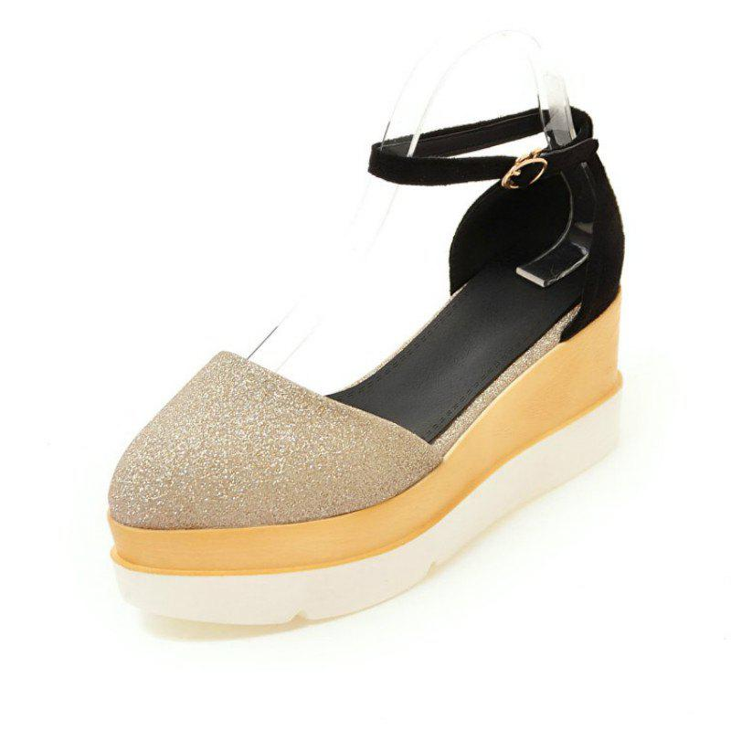 Discount Sharp Head Thick Bottom Wedge with Wild Student Shoes