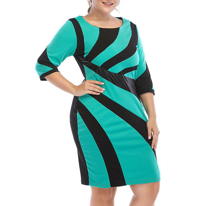 Robe en maille à manches 3/4 Turquoise Moyenne  3XL