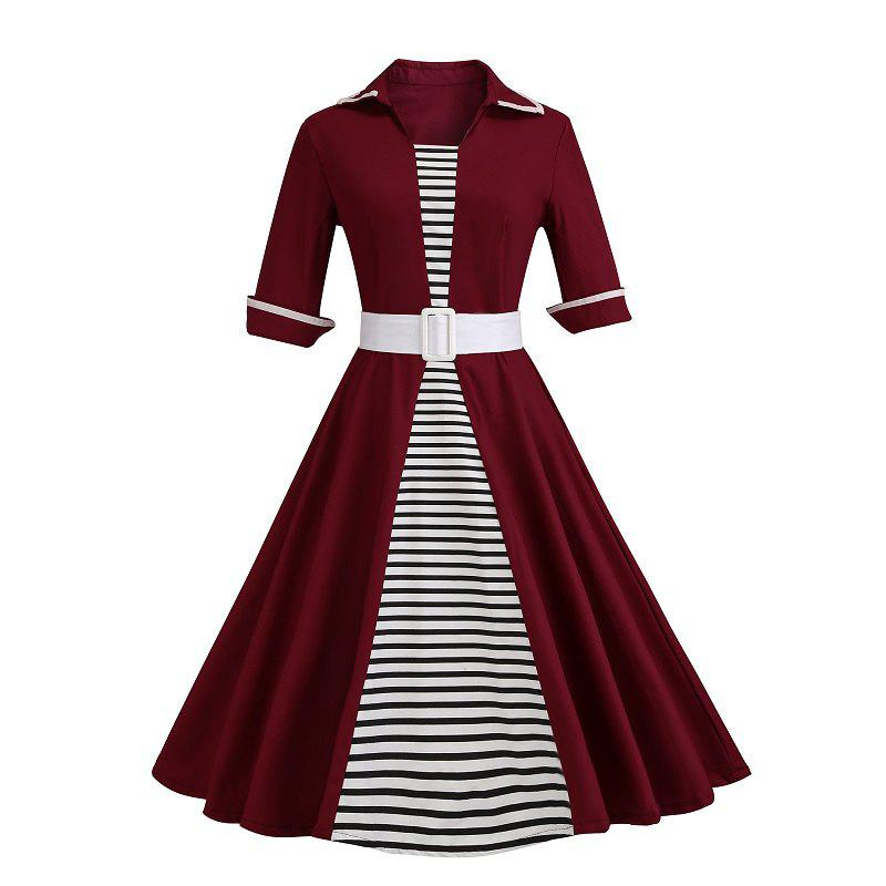 Revers Splicing Stripe Dress Rouge Vineux 2XL