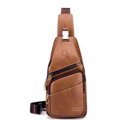 LAOSHIZI Men's New Casual Business Front And Rear Crossbody Chest Bag -
