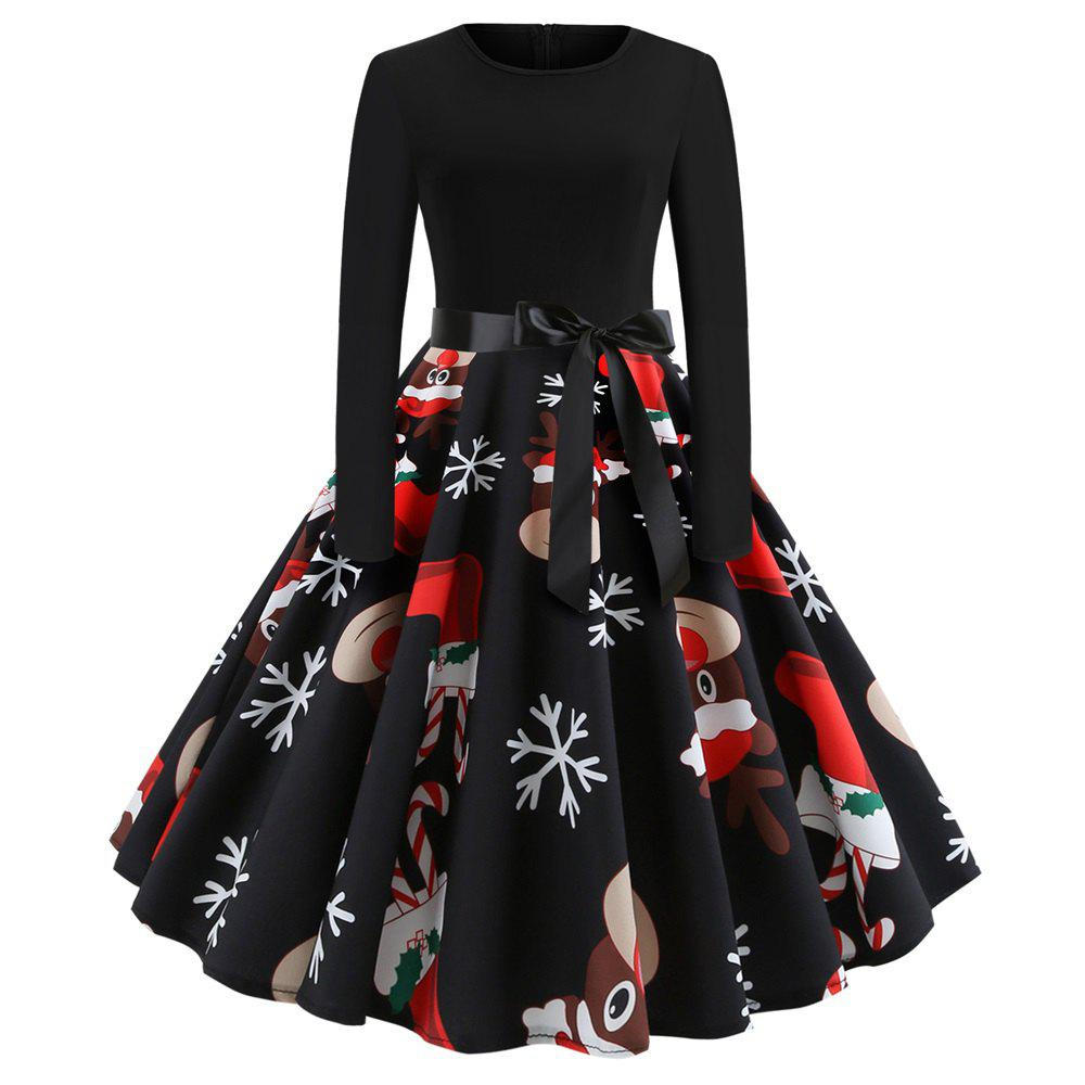 Hot Christmas Print Stitching Long Sleeves and Large Dresses