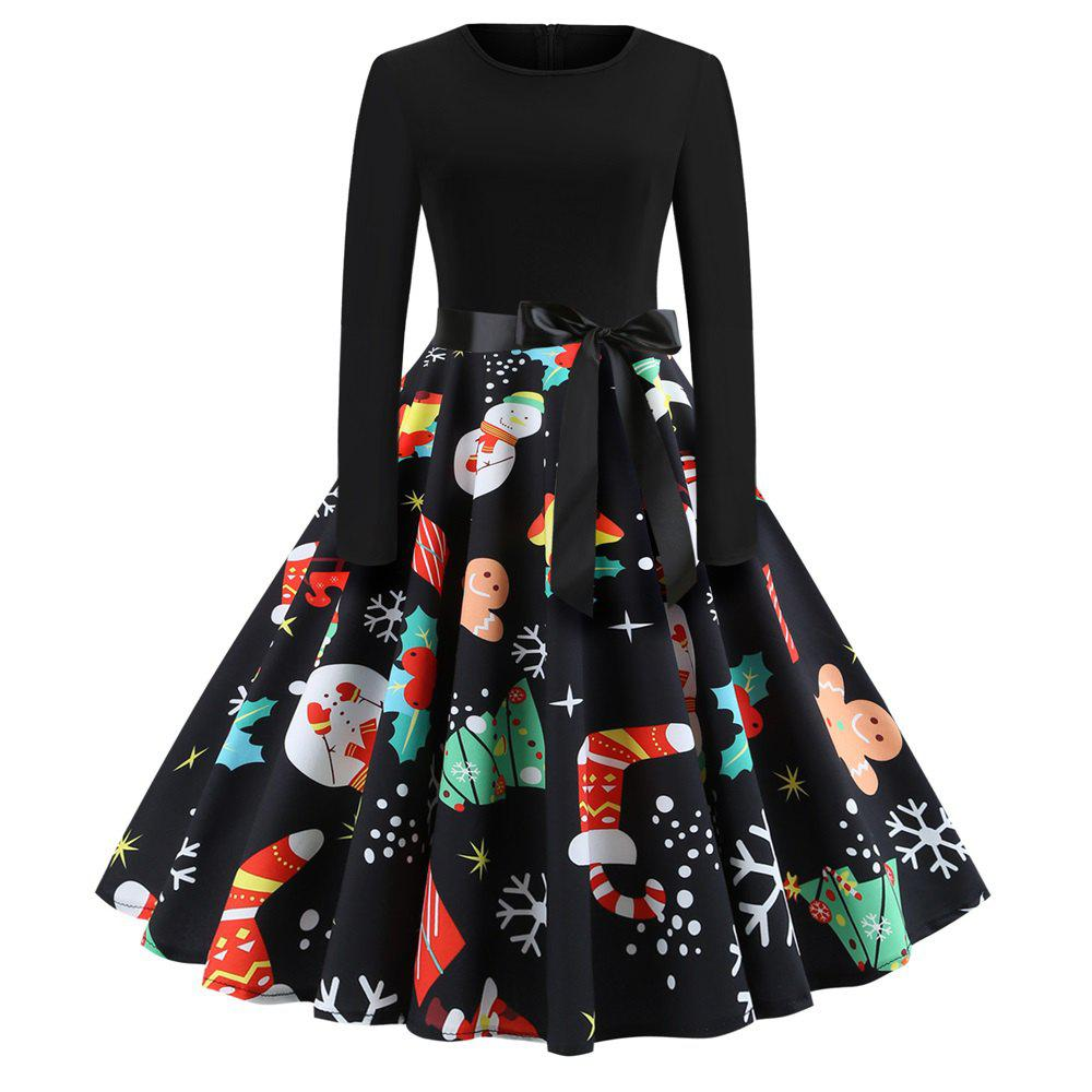 Cheap Christmas Print Stitching Long Sleeves and Large Dresses