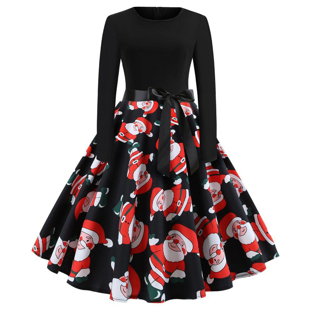 Unique Christmas Print Stitching Long Sleeves and Large Dresses