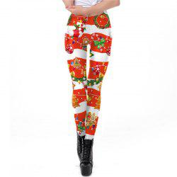 Christmas Costumes Clothes Women Printing Elastic Leggings -
