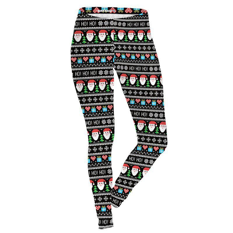 New Christmas Costume Santa Claus Pattern Print Clothes Sport Leggings for Women
