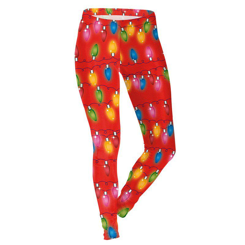 Outfit Christmas Light Pattern Print Costume Clothes Sport Leggings