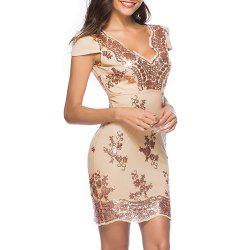 Deep V Sexy with Sequins Fashion Skinny Bodycon Short Sleeve Club Dress -