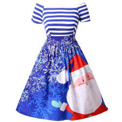 New Christmas Santa Claus Print Striped Color Block Off Shoulder Tutu Dress -