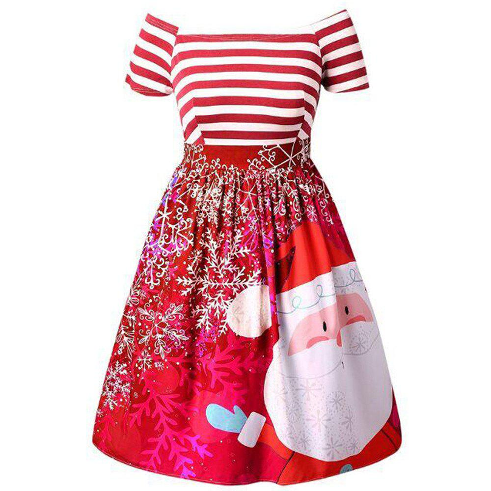 New Christmas Santa Claus Print Striped Color Block Off Shoulder Tutu Dress, Red
