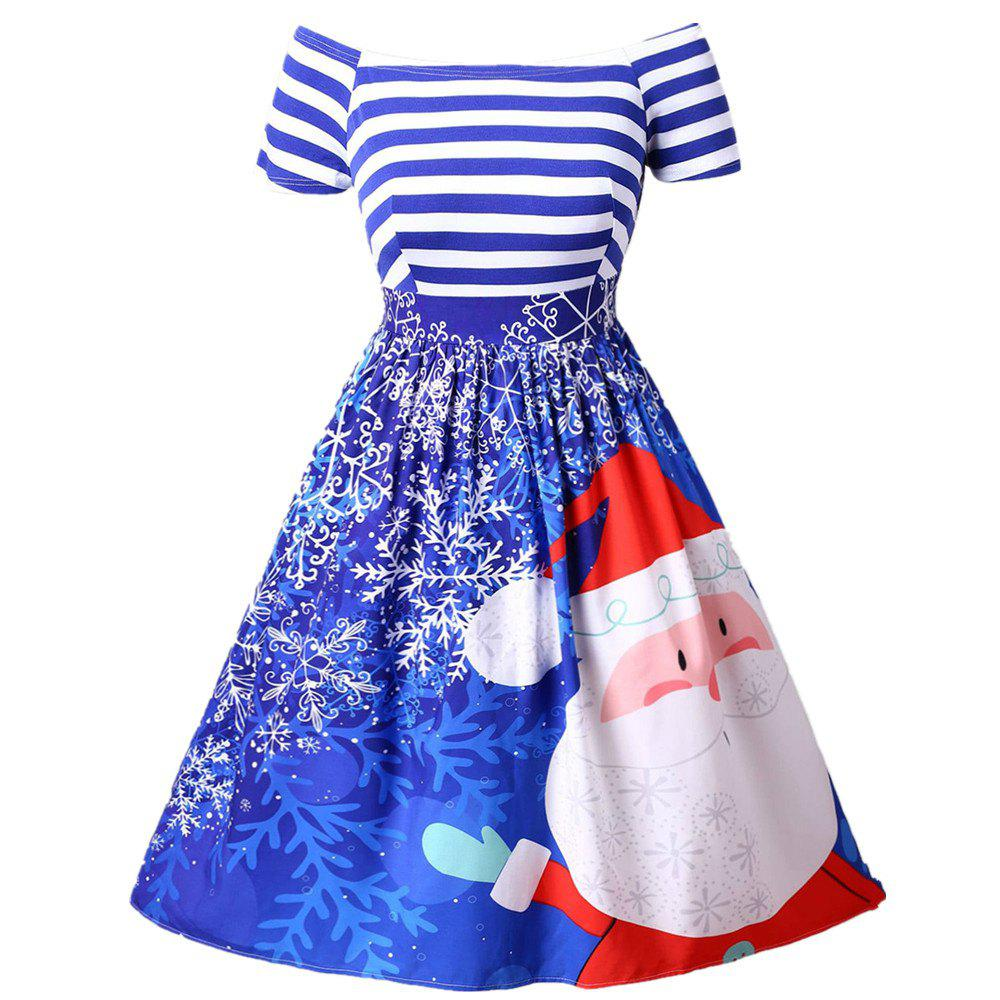 Affordable New Christmas Santa Claus Print Striped Color Block Off Shoulder Tutu Dress