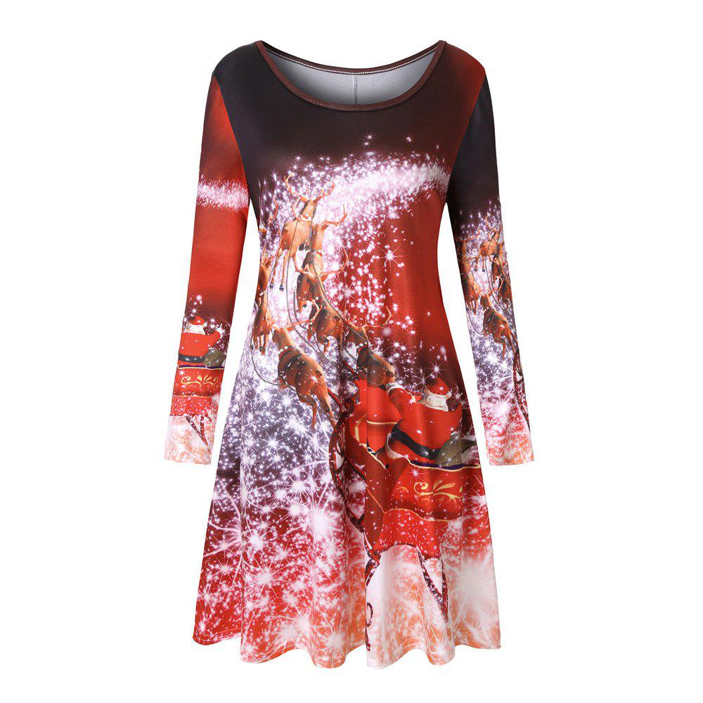 Outfits Big Round Neck Christams Castle Santa Claus Sled Print A-line Long Sleeve Dress