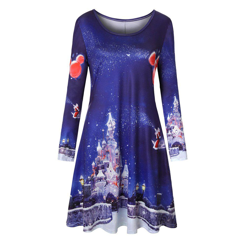 Hot Big Round Neck Christams Castle Santa Claus Sled Print A-line Long Sleeve Dress