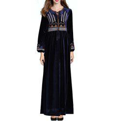 A Long-Sleeved Dress Embroidered with Flowers -