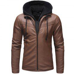 Men's Fashion Casual Long-sleeved Pu Leather Slim Hooded Leather -