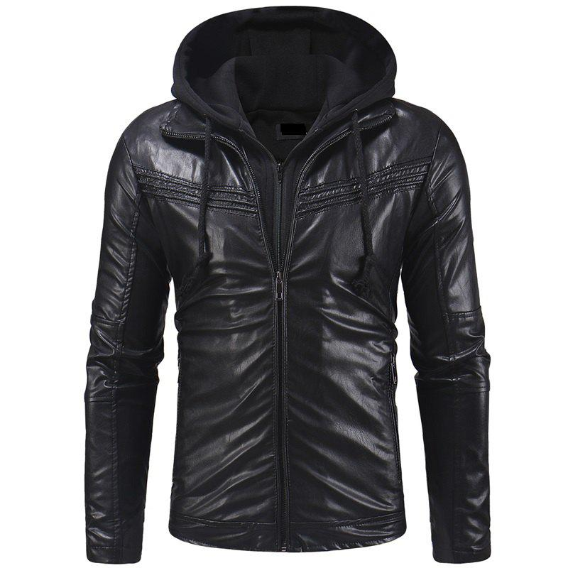 Sale Men's Fashion Casual Long-sleeved Pu Leather Slim Hooded Leather