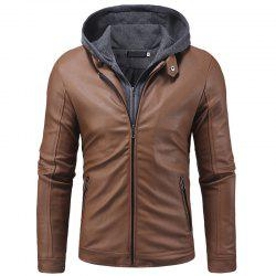 Men's fashion double zipper casual long sleeve pu leather slim hooded leather -