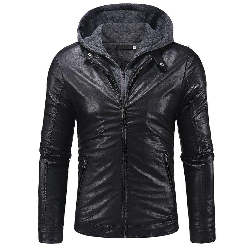 Shops Men's fashion double zipper casual long sleeve pu leather slim hooded leather