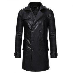 Men's Fashion Double Breasted Long Style Casual Slim Lapel Long Sleeve Leather -