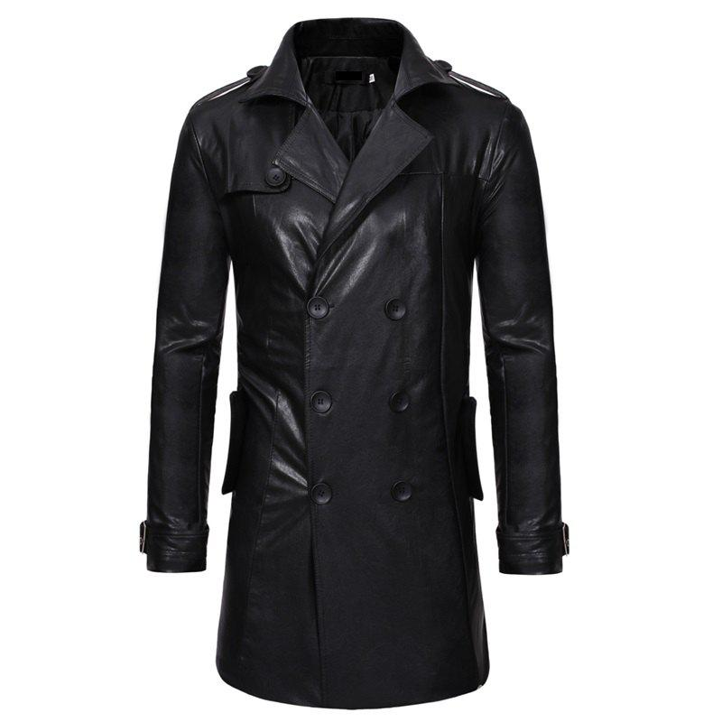 Discount Men's Fashion Double Breasted Long Style Casual Slim Lapel Long Sleeve Leather