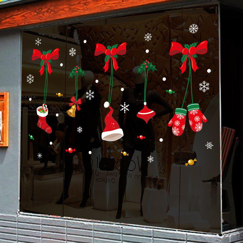 2PCS Christmas Stickers Window Stickers Socks Shop Glass Door Stickers