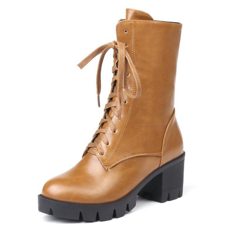 Image of Autumn and Winter Thick with Ankle Boots Women'S Boots Front with Boots A