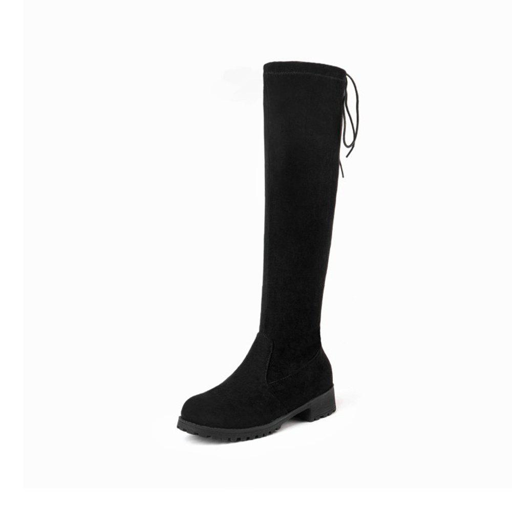 Image of Autumn and Winter Low Heel with Elastic Boots High Boots Knee Boots Warm Boots