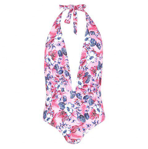 MISSOMO Fashion Sexy Backless Lace-Up Neck Flower Print One-Piece Swimsuit