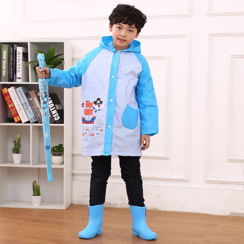 Shops Cartoon Printed Cut Transparent PVC Children Raincoat for Boys and Girls