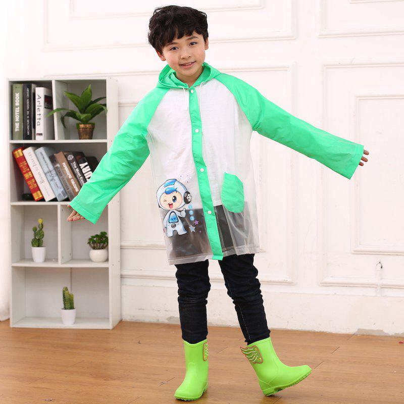 Unique Cartoon Printed Cut Transparent PVC Children Raincoat for Boys and Girls