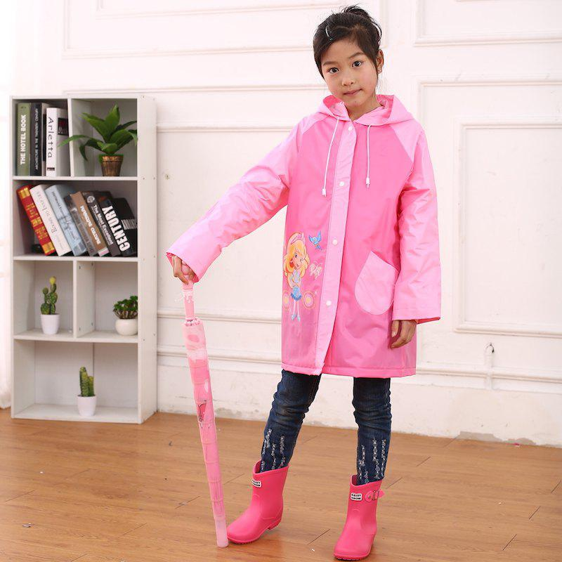Fancy Cartoon Printed Cut Transparent PVC Children Raincoat for Boys and Girls