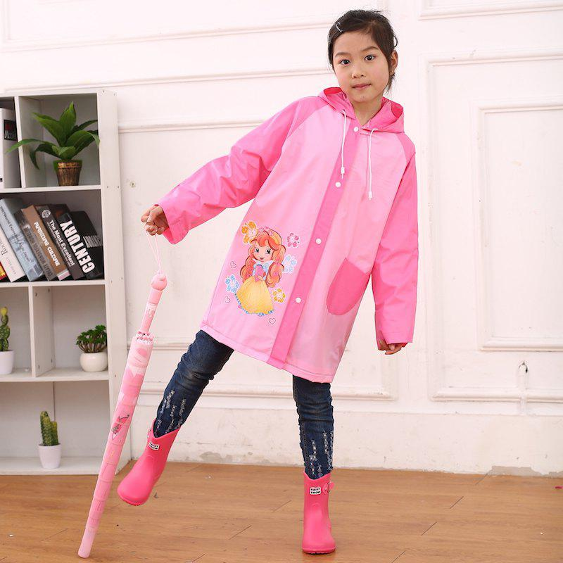 Store Cartoon Printed Cut Transparent PVC Children Raincoat for Boys and Girls
