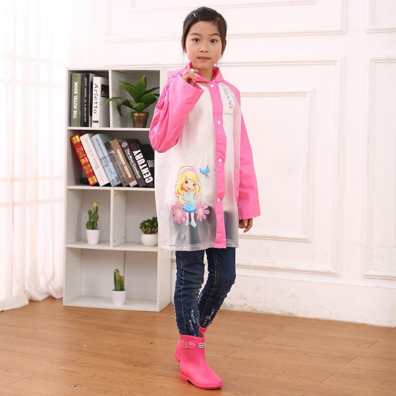 New Cartoon Printed Cut Transparent PVC Children Raincoat for Boys and Girls