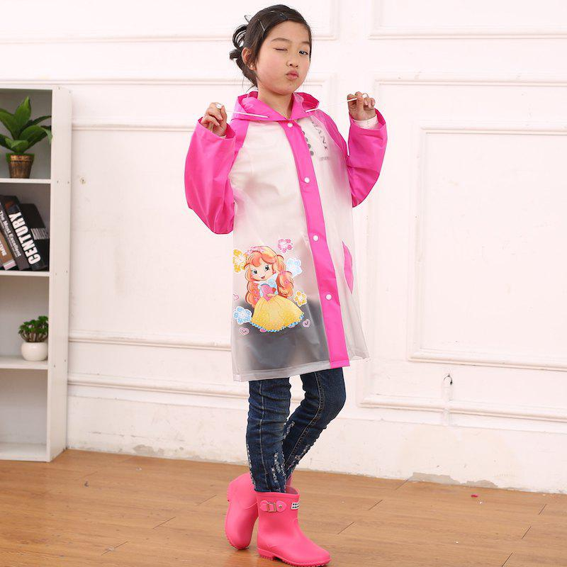 Outfits Cartoon Printed Cut Transparent PVC Children Raincoat for Boys and Girls