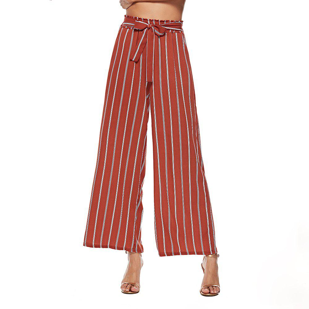 Shops European and American Striped Wide-Leg Pants Stylish High-Waist Casual Pants