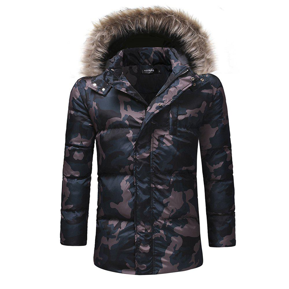 Shops Men'S Fashion Thickened Down Cotton Camouflage Casual Cotton Coat