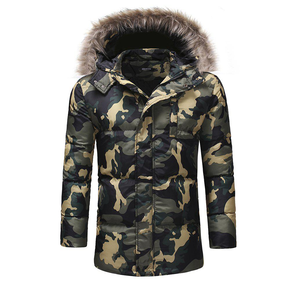 7cbf6cc3b447a Buy Men'S Fashion Thickened Down Cotton Camouflage Casual Cotton Coat