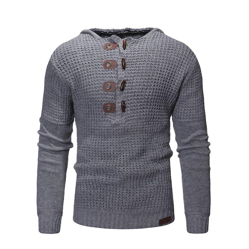Discount 2018 New Men'S Slim High Quality Hooded Solid Color Sweater Sweater