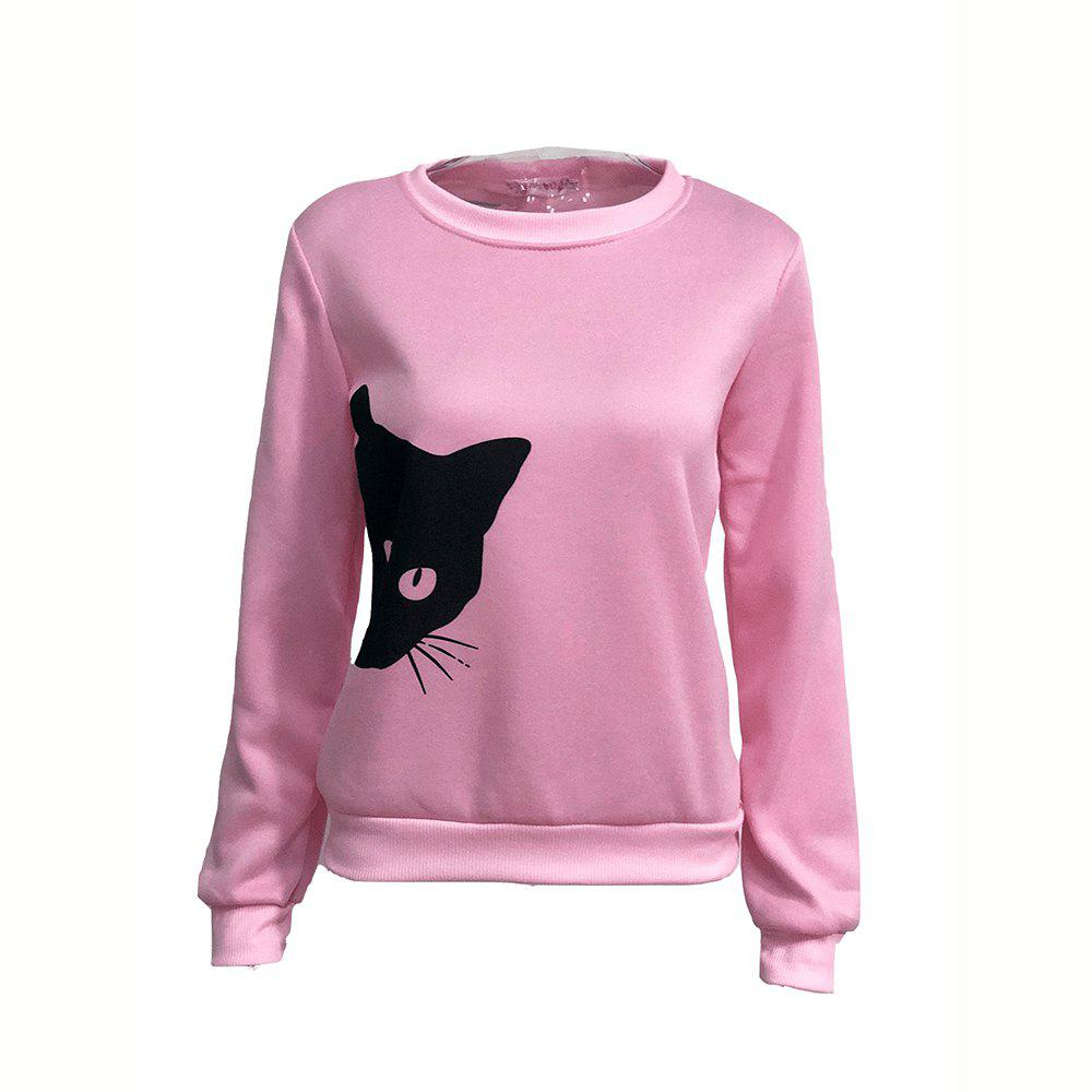 Shop New Long Sleeved Women'S Sweater with Cat Head Print