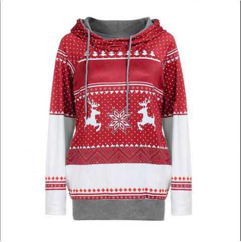 Christmas Wave Dot Elk Snowflake Hooded Long Sleeved Sweater Coat