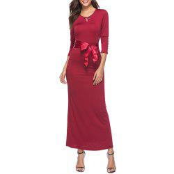 Spring and Autumn Solid Color Lace Slim Dress Temperament Dress Maxi Dress -