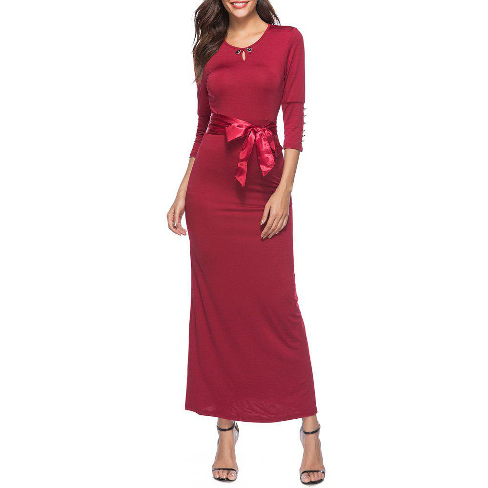 Hot Spring and Autumn Solid Color Lace Slim Dress Temperament Dress Maxi Dress