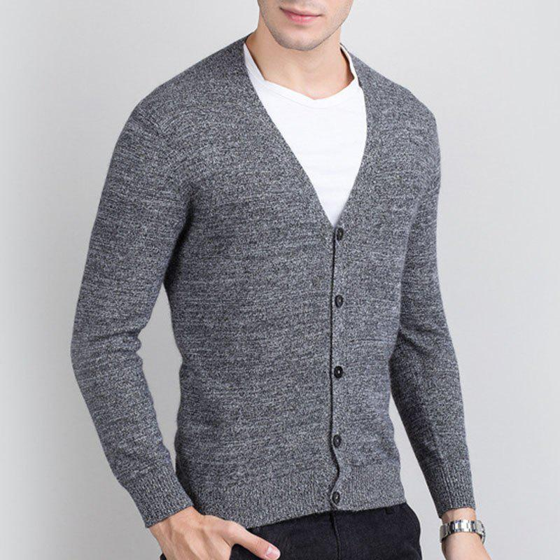 Chic Autumn and Winter Men's Cashmere Sweater Trend New V Collar Wear Sweater