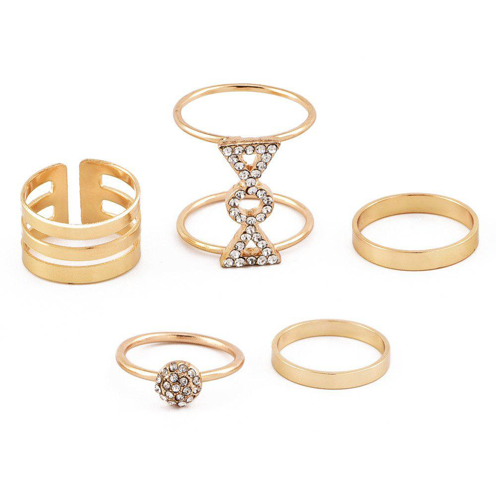 Hot Women'S Popular New Personality Diamond Ring Five Combinations