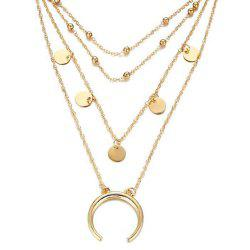 Personnalité populaire Moon Bend Bead Chain Multi Collier -