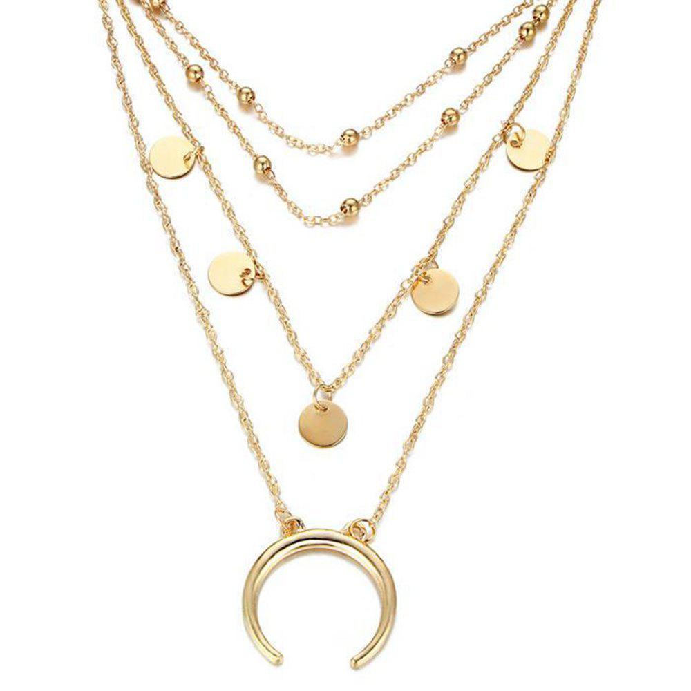 Personnalité populaire Moon Bend Bead Chain Multi Collier