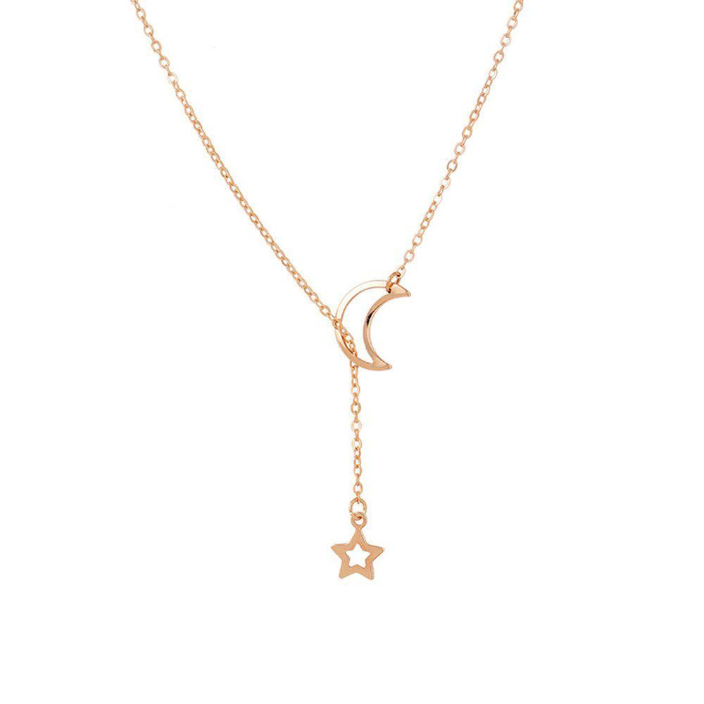 32ba9bb111c Simple Cute Fashionable Popular Moon and Star Pendant Necklace