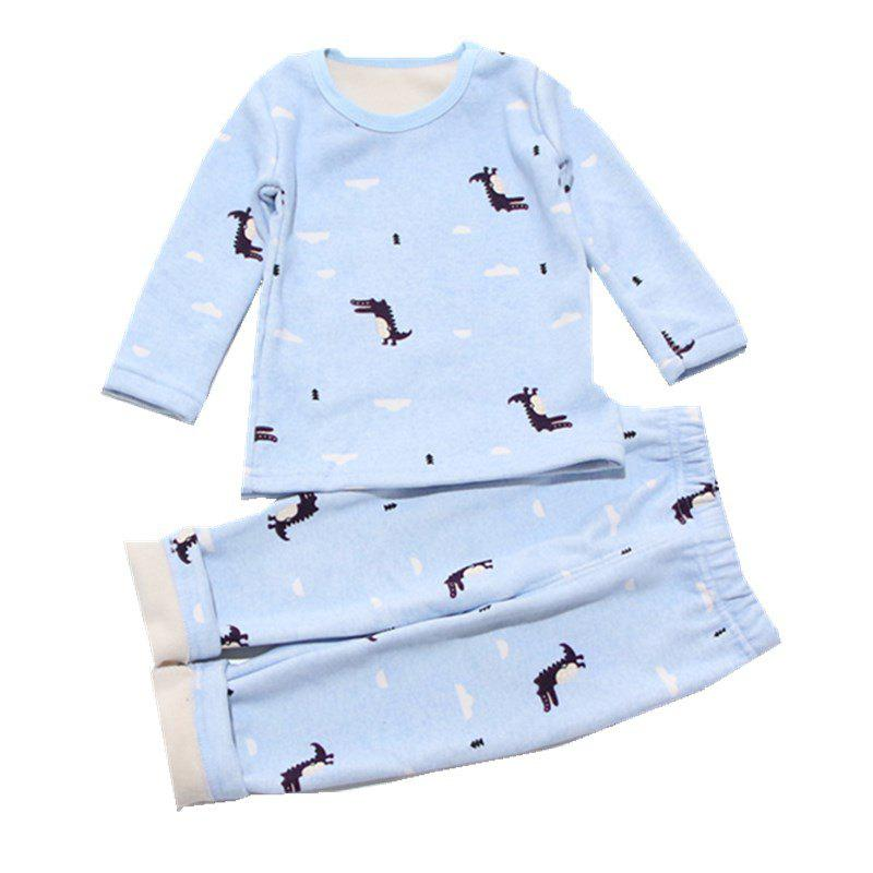 Online Baby 2PCS Pajamas Suit Simple Style Long-Sleeved Comfortable Home Clothes