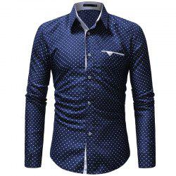 2018 New Five-Pointed Star Print Men's Casual Slim Long-Sleeved Shirt -