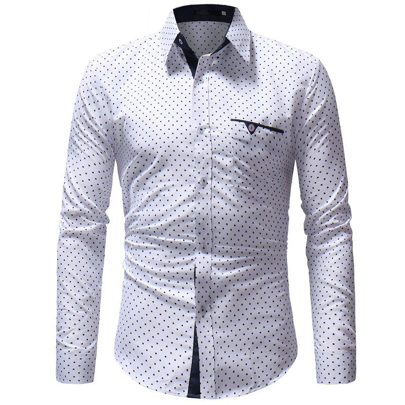 Latest 2018 New Five-Pointed Star Print Men's Casual Slim Long-Sleeved Shirt